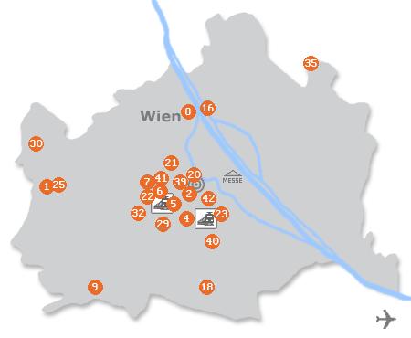 Karte mit Pensionen und anderen Unterk�nften in Wien