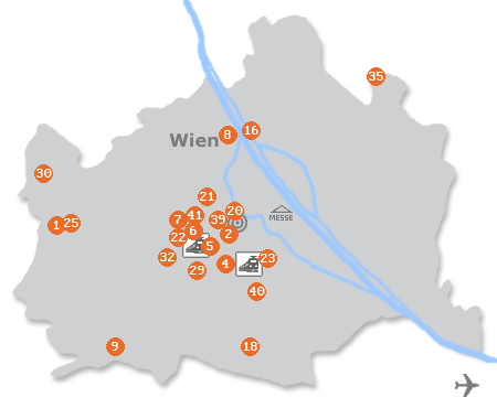 Karte mit Pensionen und anderen Unterkünften in Wien
