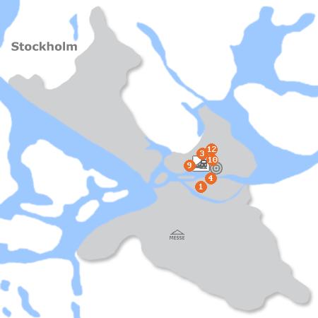 Karte mit Pensionen und anderen Unterkünften in Stockholm