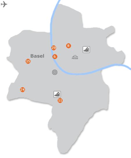 Karte mit Pensionen und anderen Unterk�nften in Basel