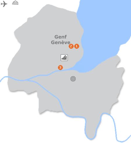 Karte mit Pensionen und anderen Unterkünften in Genf