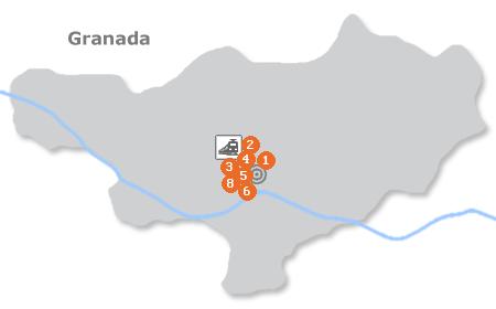 Karte mit Pensionen und anderen Unterkünften in Granada