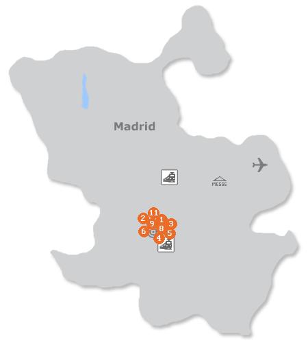Karte mit Pensionen und anderen Unterk�nften in Madrid