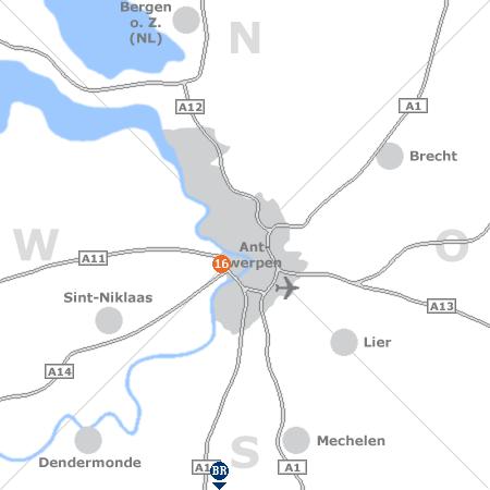 Karte mit Pensionen und anderen Unterk�nften rund um Antwerpen