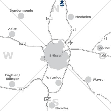 Karte mit Pensionen und anderen Unterkünften rund um Brüssel