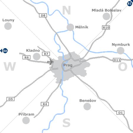 Karte mit Pensionen und anderen Unterkünften rund um Prag