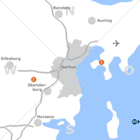 Karte mit Pensionen und anderen Unterkünften rund um Århus