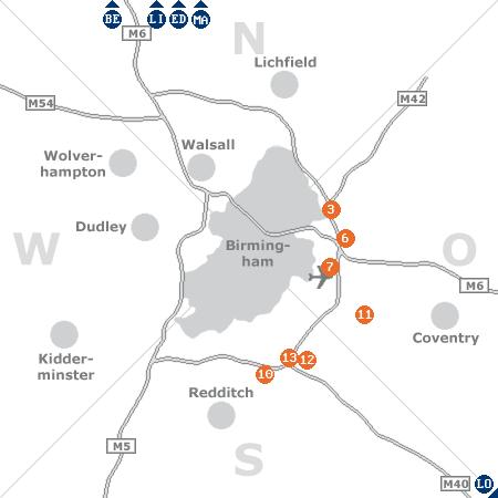 Karte mit Pensionen und anderen Unterkünften rund um Birmingham