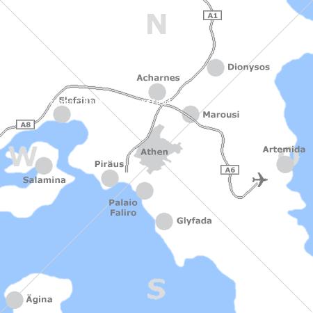 Karte mit Pensionen und anderen Unterkünften rund um Athen