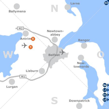 Karte mit Pensionen und anderen Unterkünften rund um Belfast