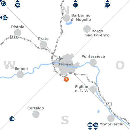 Karte mit Pensionen und anderen Unterkünften rund um Florenz