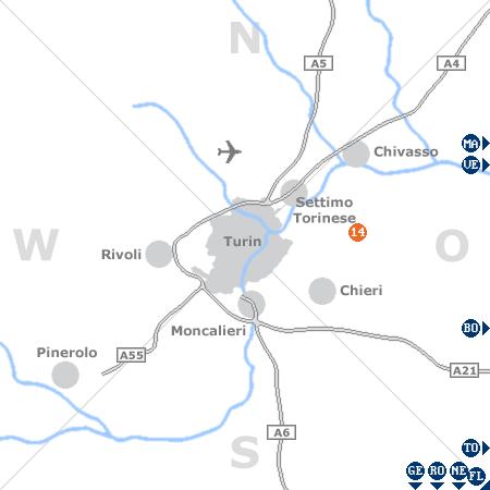 Karte mit Pensionen und anderen Unterkünften rund um Turin