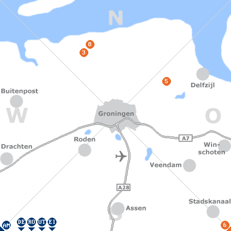 Karte mit Pensionen und anderen Unterkünften rund um Groningen