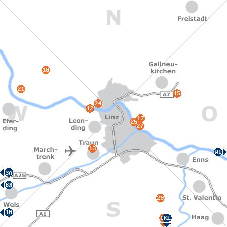 Karte mit Pensionen und anderen Unterkünften rund um Linz