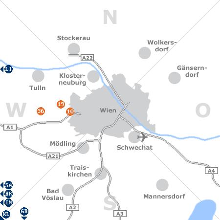 Karte mit Pensionen und anderen Unterk�nften rund um Wien