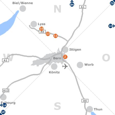 Karte mit Pensionen und anderen Unterk�nften rund um Bern