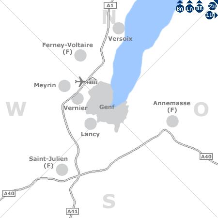 Karte mit Pensionen und anderen Unterkünften rund um Genf