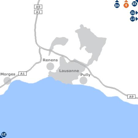 Karte mit Pensionen und anderen Unterk�nften rund um Lausanne