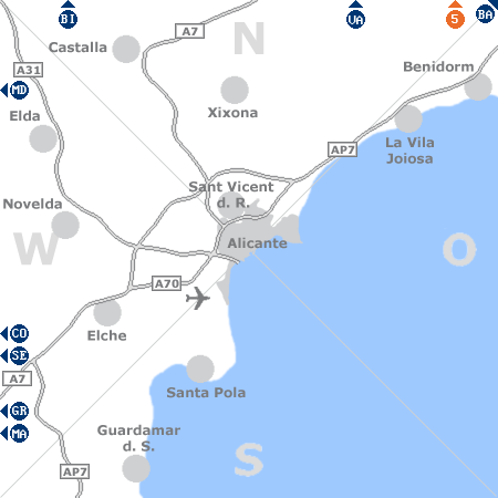 Karte mit Pensionen und anderen Unterk�nften rund um Alicante