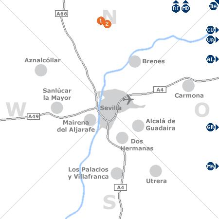 Karte mit Pensionen und anderen Unterkünften rund um Sevilla