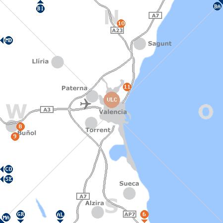 Karte mit Pensionen und anderen Unterkünften rund um Valencia