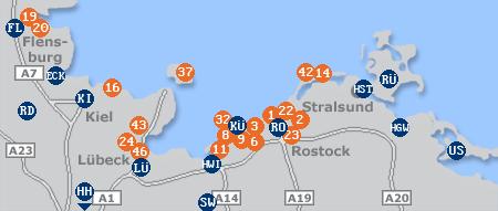 Karte mit Pensionen und anderen Unterkünften an der Ostsee