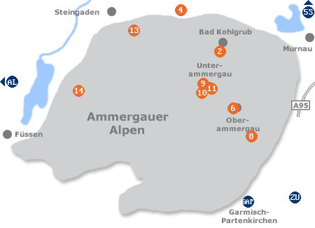 Karte mit Pensionen und anderen Unterkünften im Ammergau