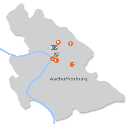 Karte mit Pensionen und anderen Unterkünften in Aschaffenburg