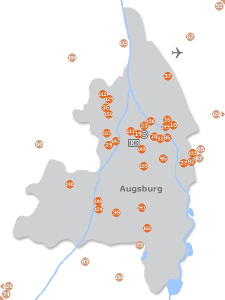 Karte mit Pensionen und anderen Unterkünften in Augsburg
