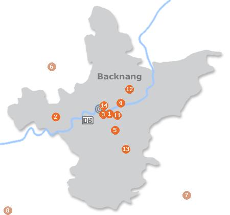 Karte mit Pensionen und anderen Unterkünften in Backnang