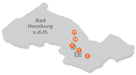 Karte mit Pensionen und anderen Unterkünften in Bad Homburg