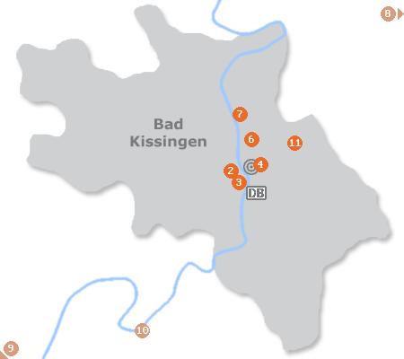 Karte mit Pensionen und anderen Unterkünften in Bad Kissingen