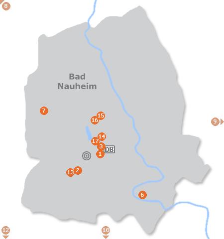 Karte mit Pensionen und anderen Unterkünften in Bad Nauheim