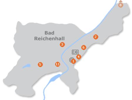 Karte mit Pensionen und anderen Unterkünften in Bad Reichenhall
