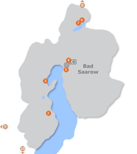 Karte mit Pensionen und anderen Unterkünften in Bad Saarow
