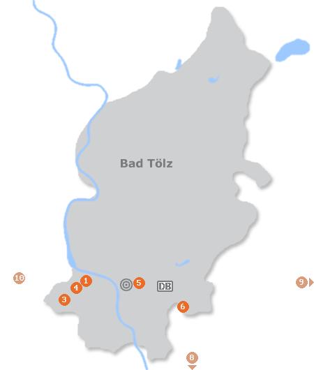Karte mit Pensionen und anderen Unterkünften in Bad Tölz