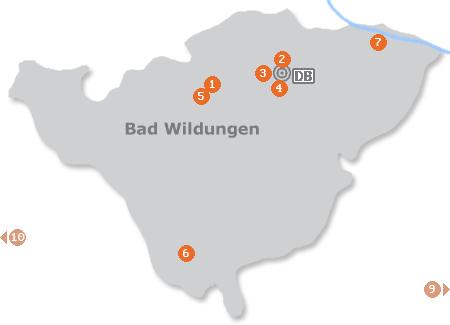 Karte mit Pensionen und anderen Unterkünften in Bad Wildungen