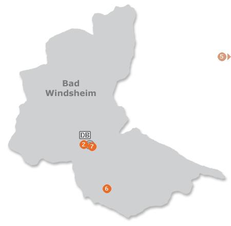 Karte mit Pensionen und anderen Unterkünften in Bad Windsheim