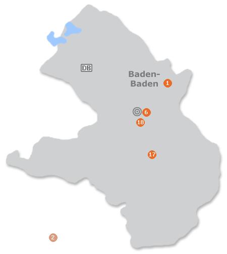 Karte mit Pensionen und anderen Unterkünften in Baden-Baden