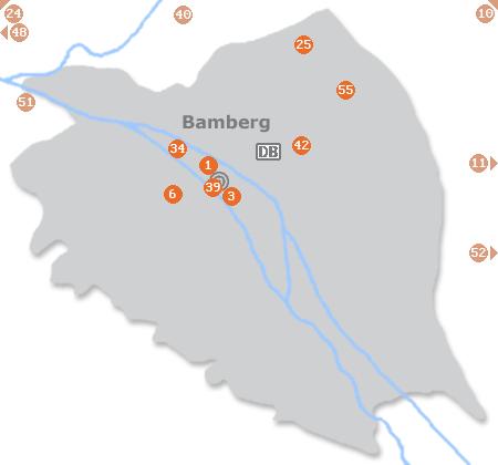 Karte mit Pensionen und anderen Unterkünften in Bamberg