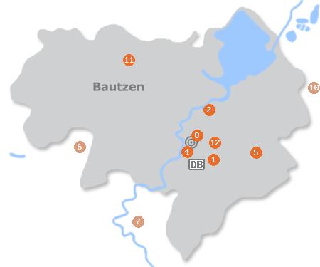 Karte mit Pensionen und anderen Unterkünften in Bautzen