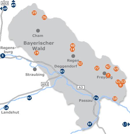 Karte mit Pensionen und anderen Unterkünften im Bayerischen Wald
