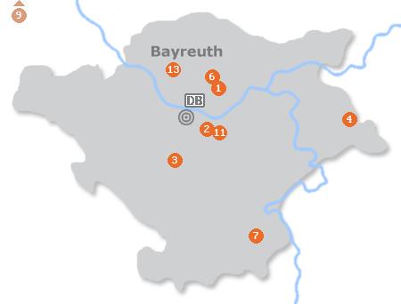 Karte mit Pensionen und anderen Unterkünften in Bayreuth