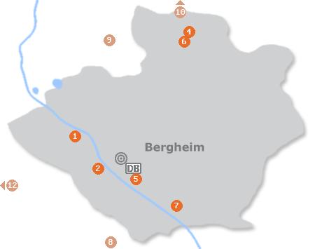 Karte mit Pensionen und anderen Unterkünften in Bergheim