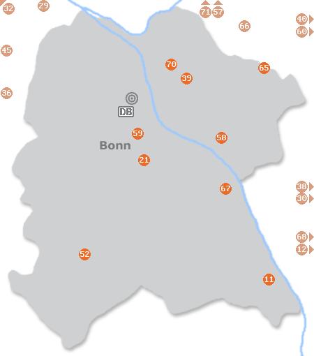 Karte mit Pensionen und anderen Unterkünften in Bonn
