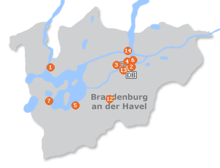 Karte mit Pensionen und anderen Unterkünften in Brandenburg an der Havel