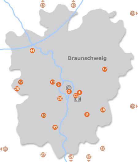 Karte mit Pensionen und anderen Unterkünften in Braunschweig