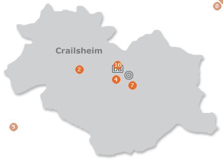 Karte mit Pensionen und anderen Unterkünften in Crailsheim