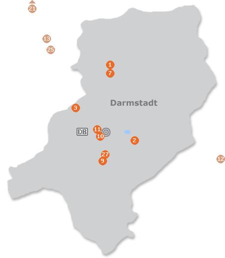 Karte mit Pensionen und anderen Unterkünften in Darmstadt