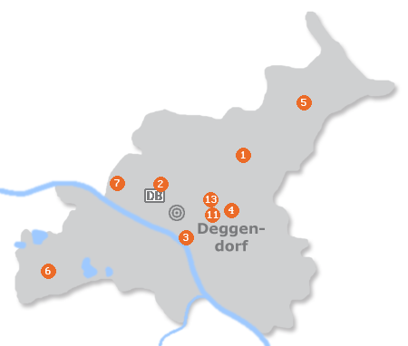 Karte mit Pensionen und anderen Unterkünften in Deggendorf